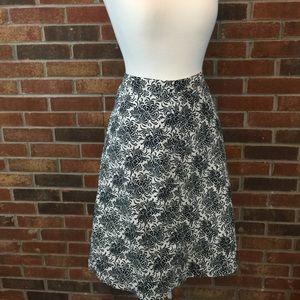 GAP Navy & White Floral Print A-Line Skirt